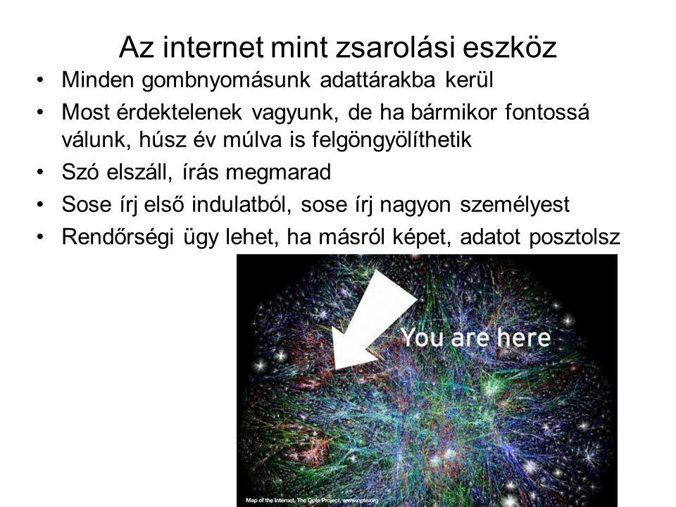Az internet mint zsarolási eszköz Minden gombnyomásunk adattárakba kerül Most érdektelenek vagyunk, de ha bármikor fontossá válunk, húsz év múlva is felgöngyölíthetik Szó elszáll, írás megmarad Sose írj első indulatból, sose írj nagyon személyest Rendőrségi ügy lehet, ha másról képet, adatot posztolsz