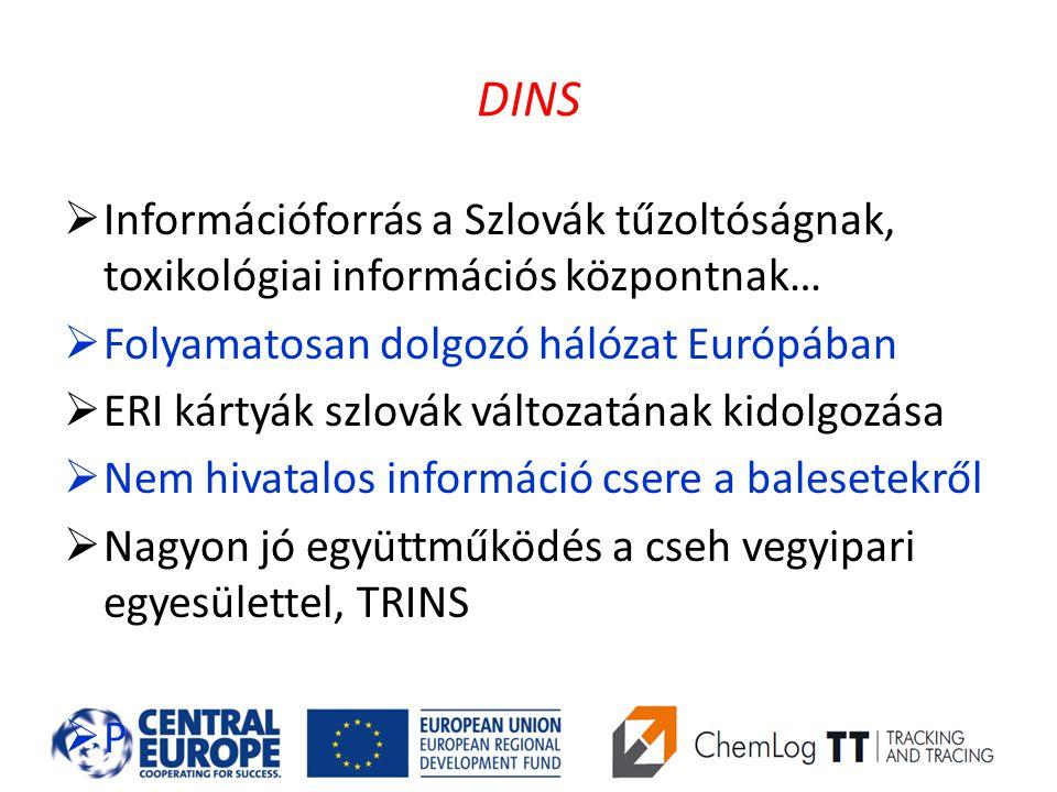 DINS  Információforrás a Szlovák tűzoltóságnak, toxikológiai információs központnak…  Folyamatosan dolgozó hálózat Európában  ERI kártyák szlovák változatának kidolgozása  Nem hivatalos információ csere a balesetekről  Nagyon jó együttműködés a cseh vegyipari egyesülettel, TRINS  P