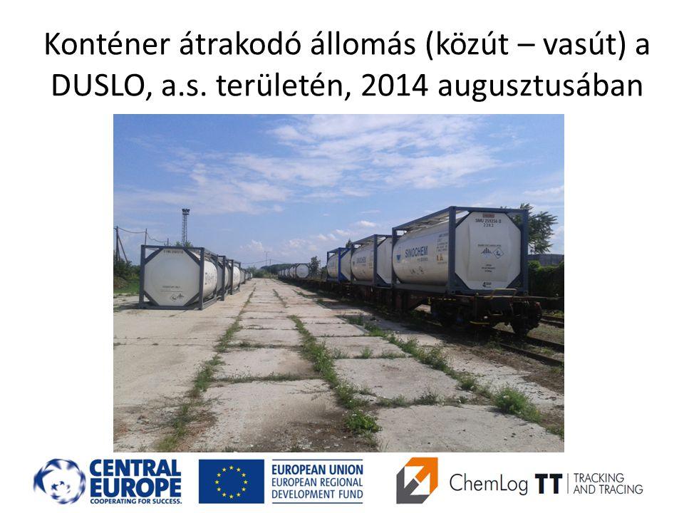 Konténer átrakodó állomás (közút – vasút) a DUSLO, a.s. területén, 2014 augusztusában