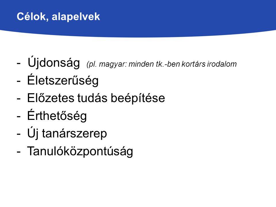 Célok, alapelvek - Újdonság (pl. magyar: minden tk.-ben kortárs irodalom -Életszerűség -Előzetes tudás beépítése -Érthetőség -Új tanárszerep -Tanulókö