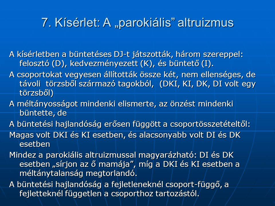 """7. Kísérlet: A """"parokiális"""" altruizmus A kísérletben a büntetéses DJ-t játszották, három szereppel: felosztó (D), kedvezményezett (K), és büntető (I)."""