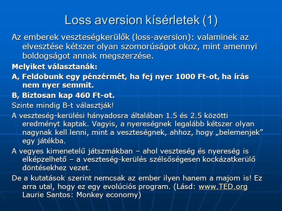 Loss aversion kísérletek (1) Az emberek veszteségkerülők (loss-aversion): valaminek az elvesztése kétszer olyan szomorúságot okoz, mint amennyi boldog