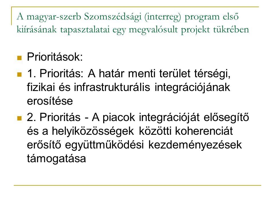 A magyar-szerb Szomszédsági (interreg) program első kiírásának tapasztalatai egy megvalósult projekt tükrében A falusi turizmus fejlesztési lehetőségei a határmenti régióban Partnerek: Csornai Richárd Ökológusok Egyesülete, Szabadka Homokháti mikrorégió fejlesztési egyesület és a Mórahalom Homokhát Eurointegráció Kht.