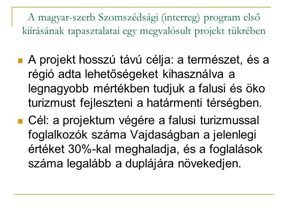 A magyar-szerb Szomszédsági (interreg) program első kiírásának tapasztalatai egy megvalósult projekt tükrében Tevékenységek:  feltérképezni mindazokat a vállalkozókat, akik jelenleg falusi turizmussal foglalkoznak, és azokat, akik szeretnének vele foglalkozni,.