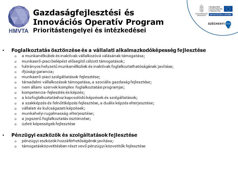 Gazdaságfejlesztési és Innovációs Operatív Program Prioritástengelyei és intézkedései Foglalkoztatás ösztönzése és a vállalati alkalmazkodóképesség fe