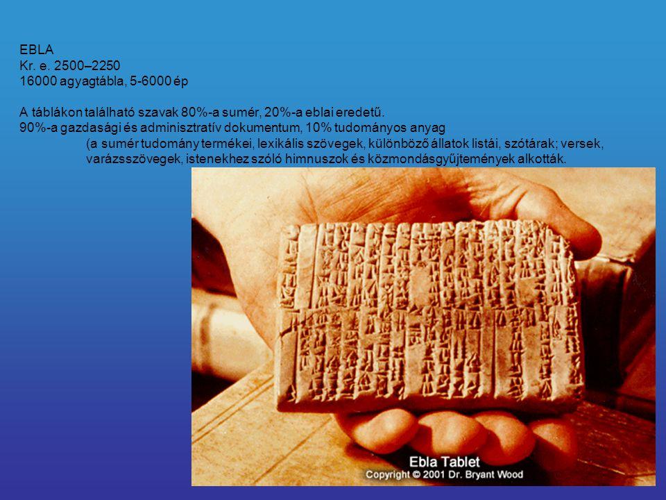 EBLA Kr. e. 2500–2250 16000 agyagtábla, 5-6000 ép A táblákon található szavak 80%-a sumér, 20%-a eblai eredetű. 90%-a gazdasági és adminisztratív doku