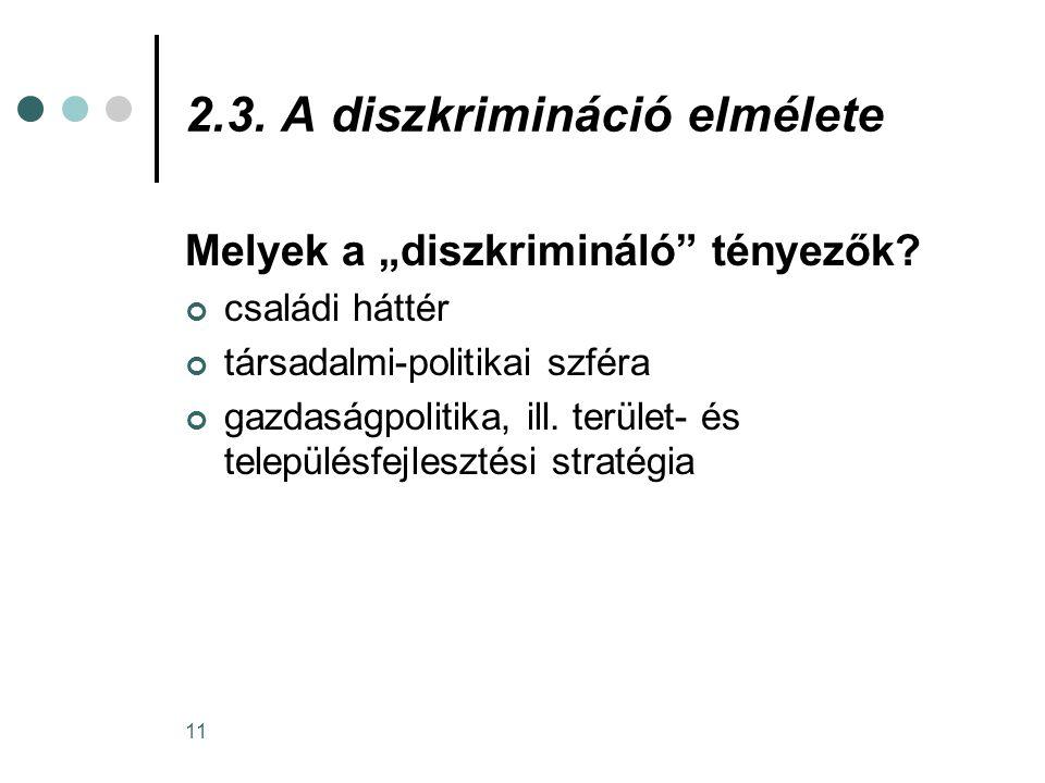 """11 2.3. A diszkrimináció elmélete Melyek a """"diszkrimináló"""" tényezők? családi háttér társadalmi-politikai szféra gazdaságpolitika, ill. terület- és tel"""