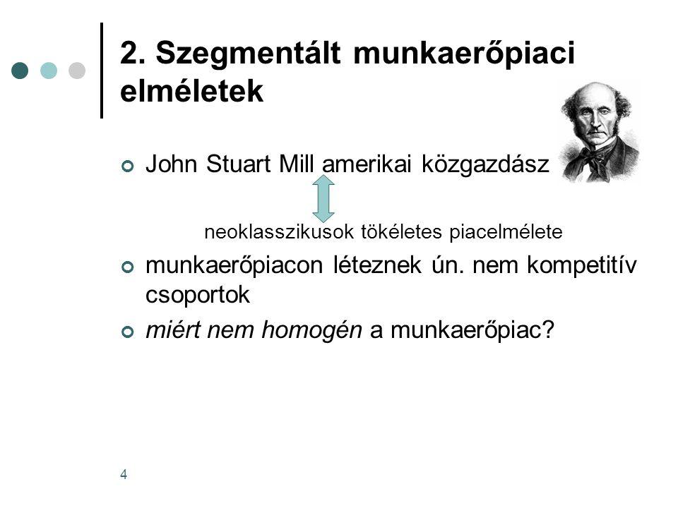 4 2. Szegmentált munkaerőpiaci elméletek John Stuart Mill amerikai közgazdász neoklasszikusok tökéletes piacelmélete munkaerőpiacon léteznek ún. nem k