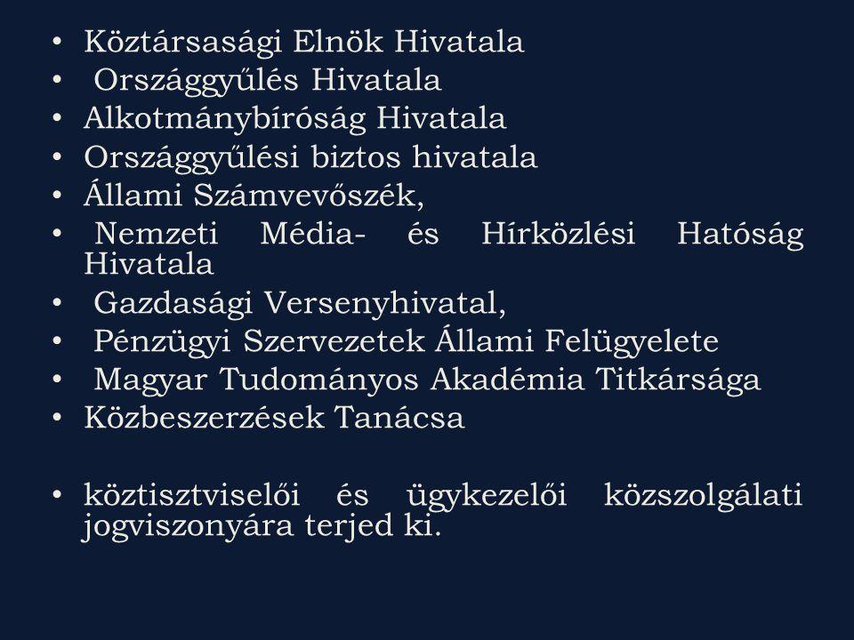 Köztársasági Elnök Hivatala Országgyűlés Hivatala Alkotmánybíróság Hivatala Országgyűlési biztos hivatala Állami Számvevőszék, Nemzeti Média- és Hírközlési Hatóság Hivatala Gazdasági Versenyhivatal, Pénzügyi Szervezetek Állami Felügyelete Magyar Tudományos Akadémia Titkársága Közbeszerzések Tanácsa köztisztviselői és ügykezelői közszolgálati jogviszonyára terjed ki.