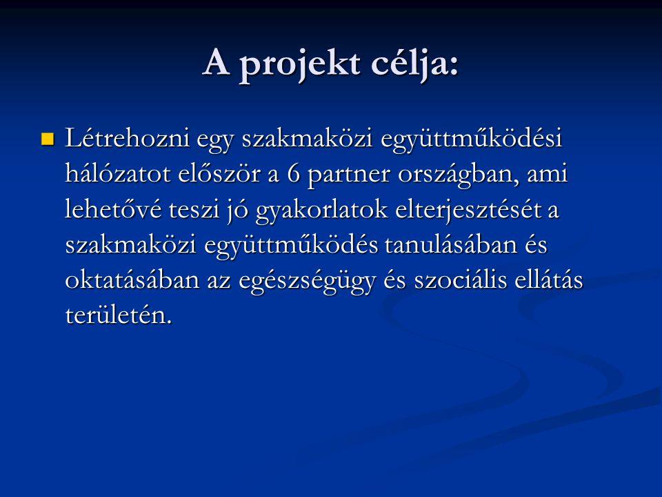 A projekt célja: Létrehozni egy szakmaközi együttműködési hálózatot először a 6 partner országban, ami lehetővé teszi jó gyakorlatok elterjesztését a szakmaközi együttműködés tanulásában és oktatásában az egészségügy és szociális ellátás területén.