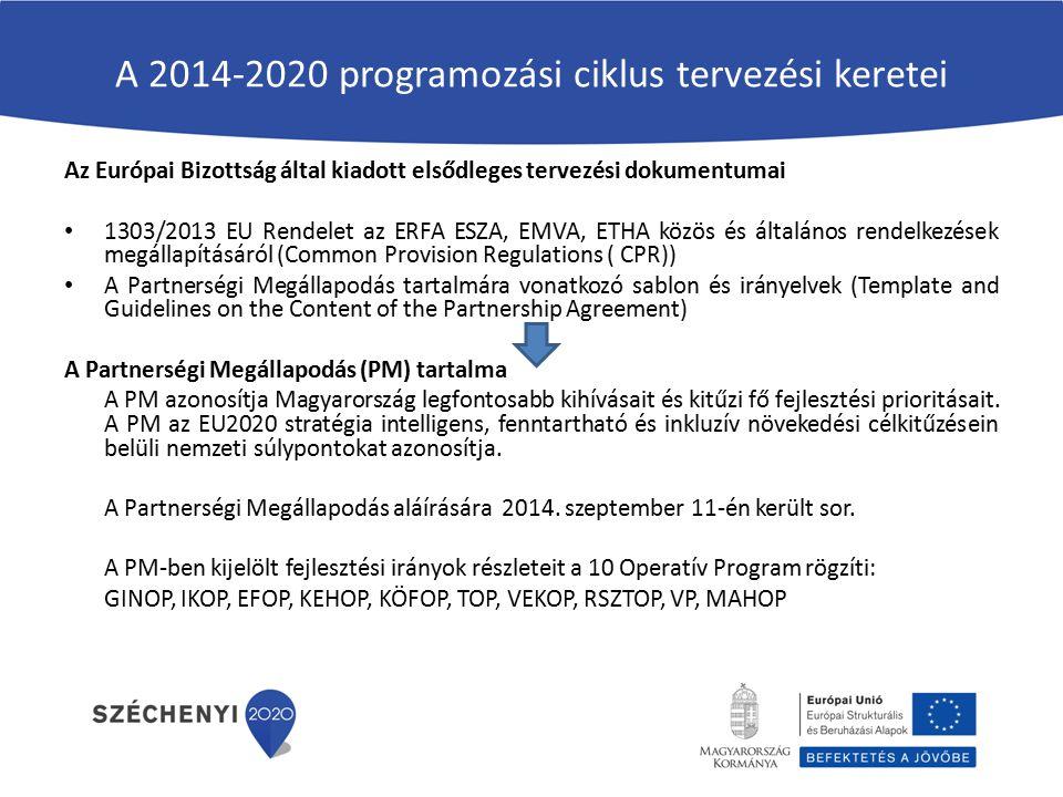 A 2014-2020 programozási ciklus tervezési keretei Az Európai Bizottság által kiadott elsődleges tervezési dokumentumai 1303/2013 EU Rendelet az ERFA E