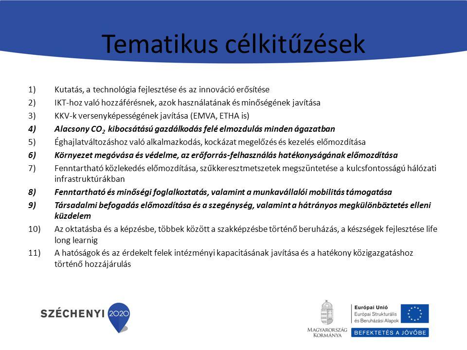 Tematikus célkitűzések 1)Kutatás, a technológia fejlesztése és az innováció erősítése 2)IKT-hoz való hozzáférésnek, azok használatának és minőségének