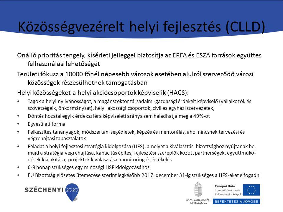 Közösségvezérelt helyi fejlesztés (CLLD) Önálló prioritás tengely, kísérleti jelleggel biztosítja az ERFA és ESZA források együttes felhasználási lehe
