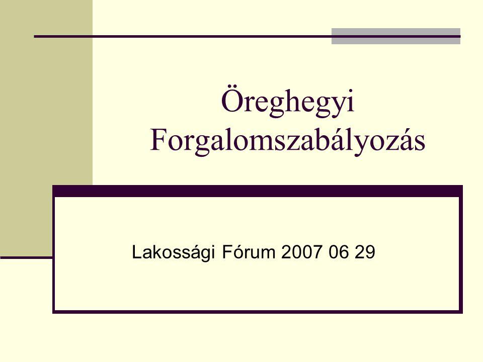 Öreghegyi Forgalomszabályozás Lakossági Fórum 2007 06 29