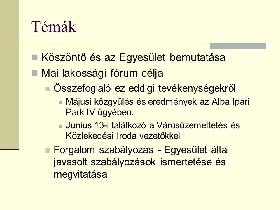 Témák Köszöntő és az Egyesület bemutatása Mai lakossági fórum célja Összefoglaló ez eddigi tevékenységekről Májusi közgyűlés és eredmények az Alba Ipari Park IV ügyében.