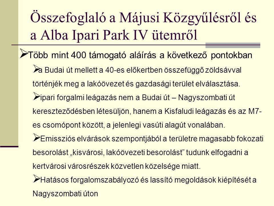 Összefoglaló a Májusi Közgyűlésről és a Alba Ipari Park IV ütemről Közgyűlésen kapott ígéretek és biztosítékok - a Köfém a teherportájának áthelyezésével mentesíti ezt a szakaszt - Kadocsa útról kitiltják a teher forgalmat ill, hogy tervezik a Budai teljes teherforgalmi mentesítését a városi szakaszokon  Csúcsos hegy környékét (az aranybulla helye) tervezik park szerűen fejleszteni  Szó volt az évenkénti kontrollról, amit az Öreghegyért egyesület a várossal és a beruházóval gyakorol és rossz irányú tendenciák esetén a tervet ill az elkészült szakaszokat módosíthatják  Összefüggõ zöldsáv megépítésére kaptunk ígéretet  Kitáblázással a területrõl csak jobb és bal irányba engednek forgalmat, ezzel biztosítva, hogy az  Öreghegyet és Nagyszombatit ne terhelje átmenő forgalom.—  Közlekedési iroda nyitott volt további forgalom szabályozás kiépítésére a lakossági kezdeményezés szerint.