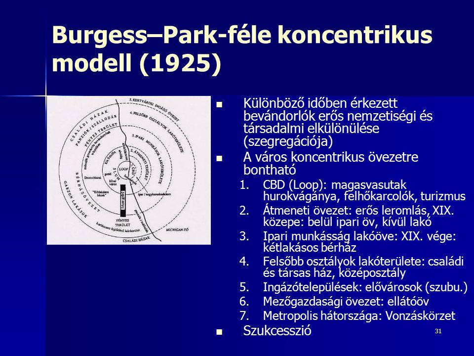 31 Burgess–Park-féle koncentrikus modell (1925) Különböző időben érkezett bevándorlók erős nemzetiségi és társadalmi elkülönülése (szegregációja) A város koncentrikus övezetre bontható 1.