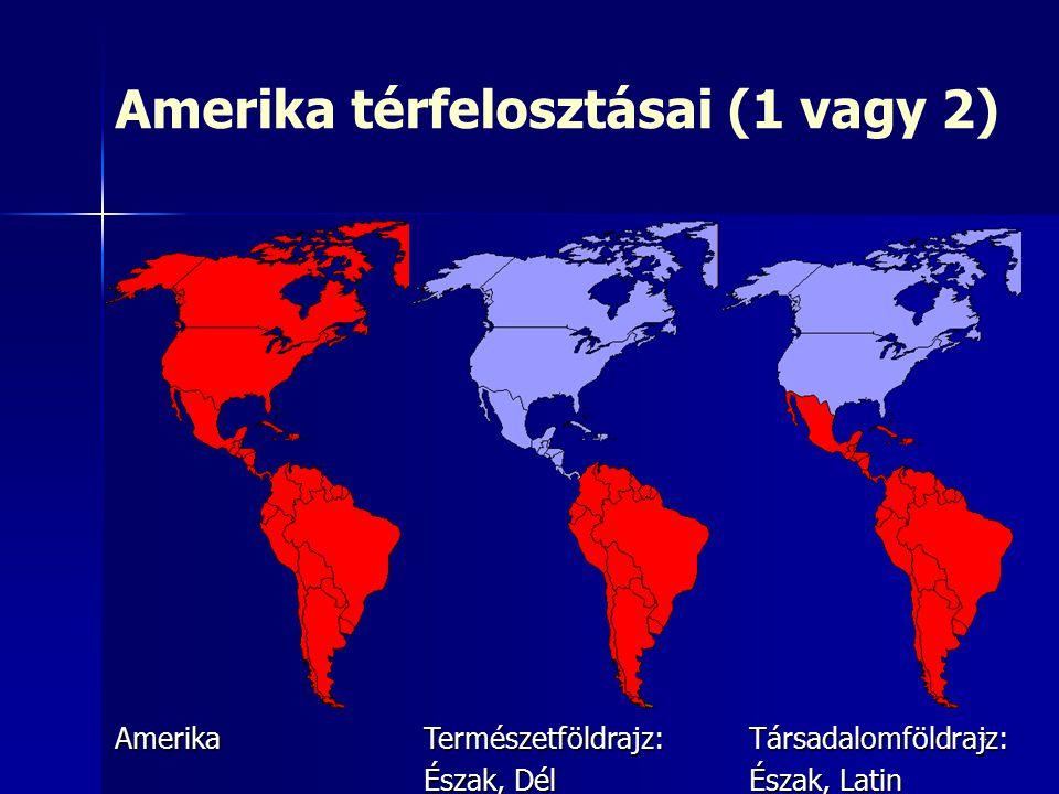 4 Amerika térfelosztásai (1 vagy 2)AmerikaTermészetföldrajz: Észak, Dél Társadalomföldrajz: Észak, Latin