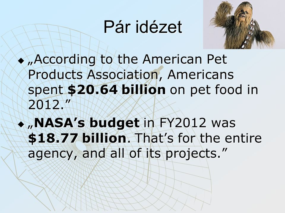 "Pár idézet  ""According to the American Pet Products Association, Americans spent $20.64 billion on pet food in 2012.""  ""NASA's budget in FY2012 was"