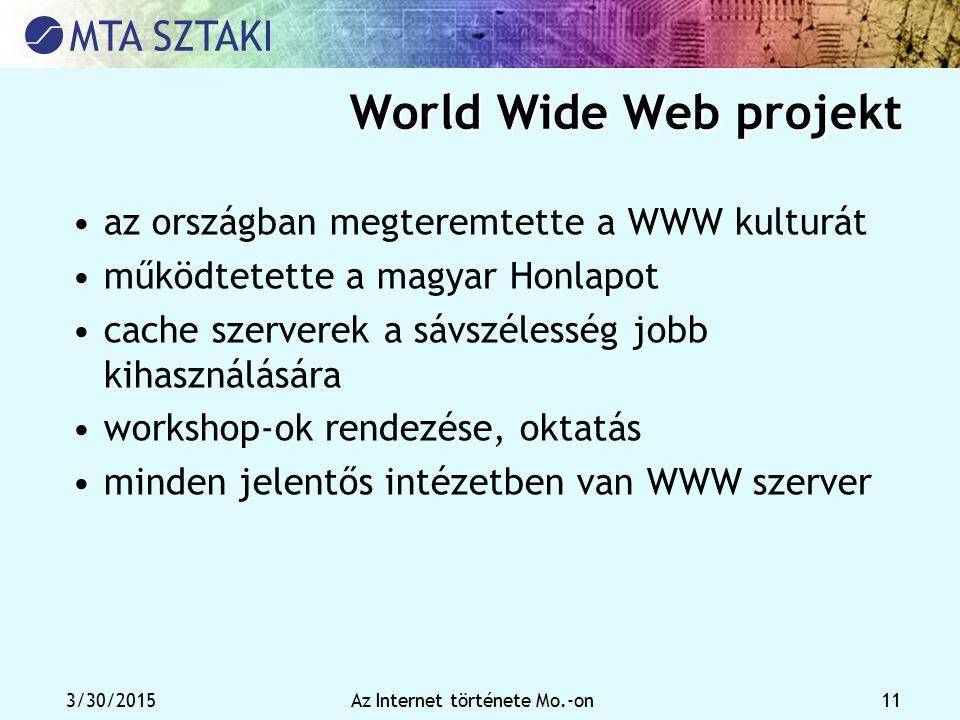 3/30/2015Az Internet története Mo.-on 11 World Wide Web projekt az országban megteremtette a WWW kulturát működtetette a magyar Honlapot cache szerver