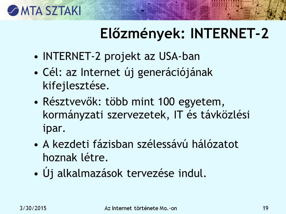 3/30/2015Az Internet története Mo.-on 19 Előzmények: INTERNET-2 INTERNET-2 projekt az USA-ban Cél: az Internet új generációjának kifejlesztése. Résztv