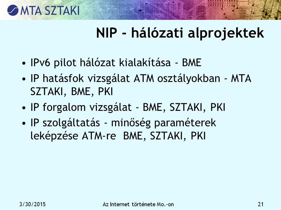 3/30/2015Az Internet története Mo.-on 21 NIP - hálózati alprojektek IPv6 pilot hálózat kialakítása - BME IP hatásfok vizsgálat ATM osztályokban - MTA