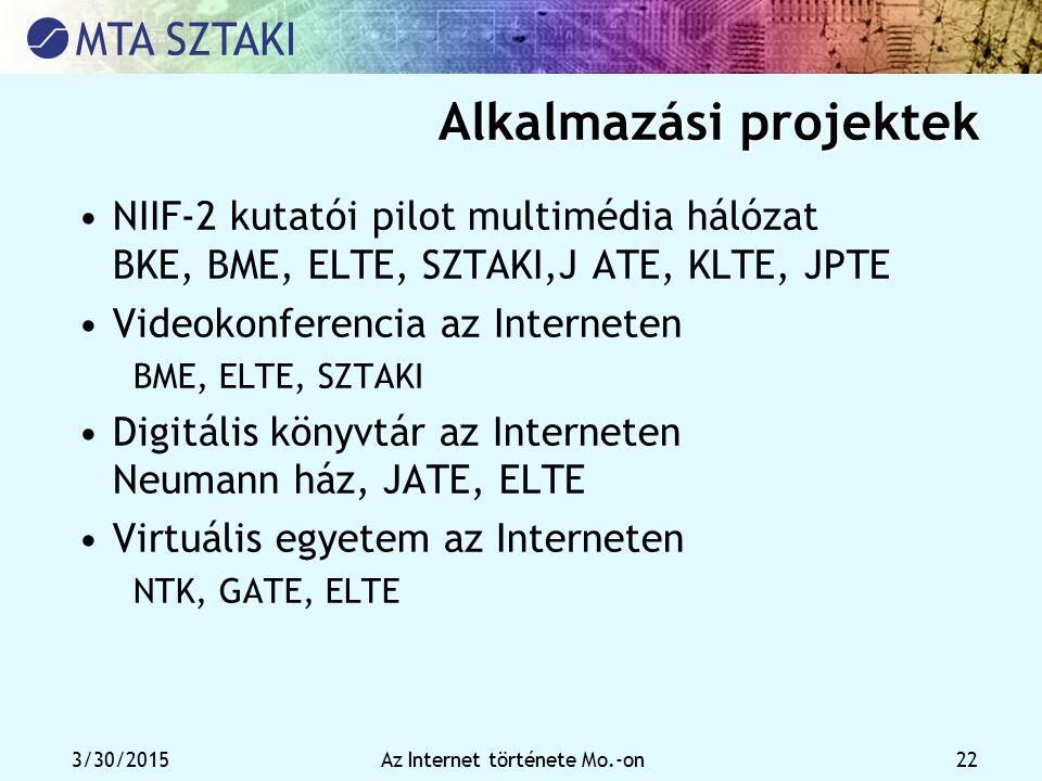 3/30/2015Az Internet története Mo.-on 22 Alkalmazási projektek NIIF-2 kutatói pilot multimédia hálózat BKE, BME, ELTE, SZTAKI,J ATE, KLTE, JPTE Videok