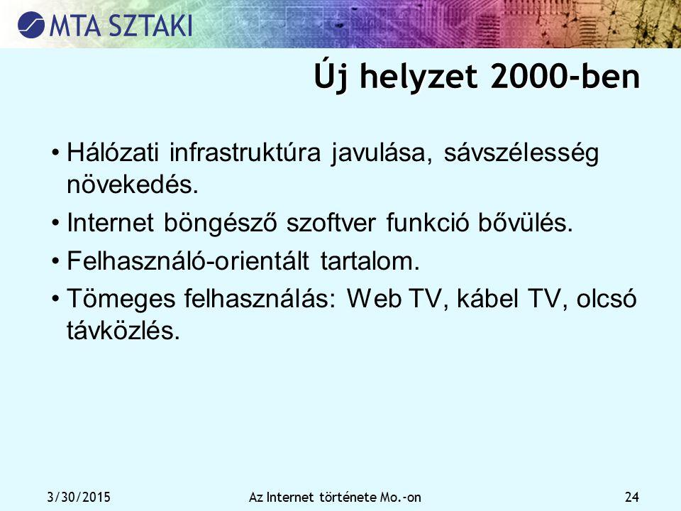 3/30/2015Az Internet története Mo.-on 24 Új helyzet 2000-ben Hálózati infrastruktúra javulása, sávszélesség növekedés. Internet böngésző szoftver funk
