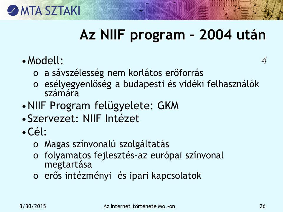 3/30/2015Az Internet története Mo.-on 26 Az NIIF program – 2004 után 4 Modell: oa sávszélesség nem korlátos erőforrás oesélyegyenlőség a budapesti és