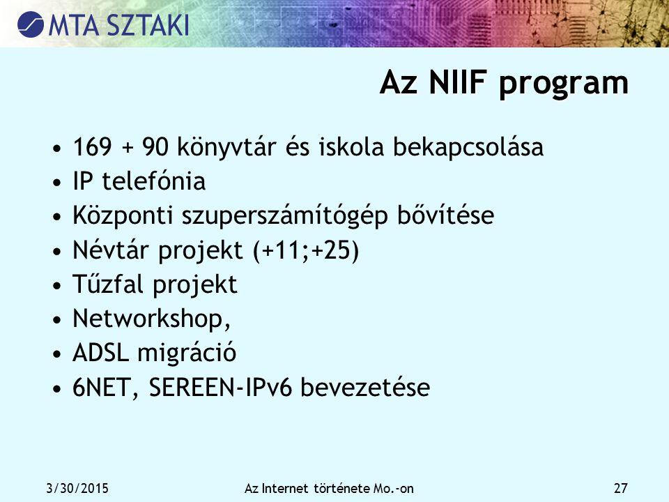 3/30/2015Az Internet története Mo.-on 27 Az NIIF program 169 + 90 könyvtár és iskola bekapcsolása IP telefónia Központi szuperszámítógép bővítése Névt