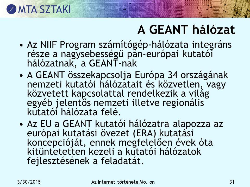 3/30/2015Az Internet története Mo.-on 31 A GEANT hálózat Az NIIF Program számítógép-hálózata integráns része a nagysebességű pán-európai kutatói hálóz