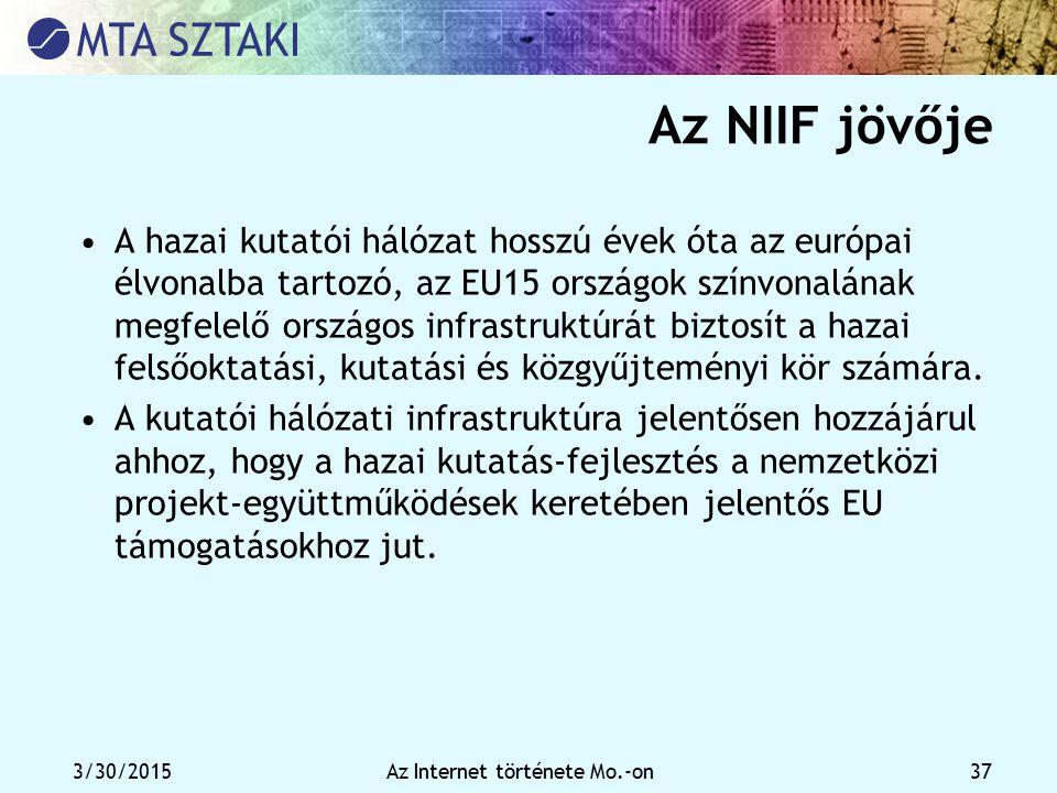 3/30/2015Az Internet története Mo.-on 37 Az NIIF jövője A hazai kutatói hálózat hosszú évek óta az európai élvonalba tartozó, az EU15 országok színvon