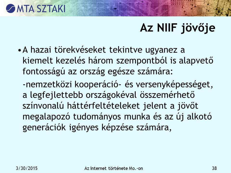 3/30/2015Az Internet története Mo.-on 38 Az NIIF jövője A hazai törekvéseket tekintve ugyanez a kiemelt kezelés három szempontból is alapvető fontossá