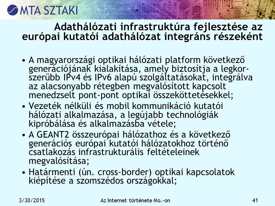 3/30/2015Az Internet története Mo.-on 41 Adathálózati infrastruktúra fejlesztése az európai kutatói adathálózat integráns részeként Adathálózati infra
