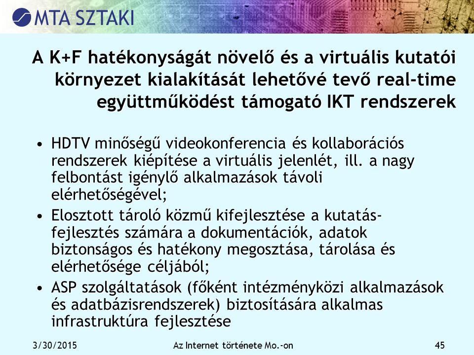 3/30/2015Az Internet története Mo.-on 45 A K+F hatékonyságát növelő és a virtuális kutatói környezet kialakítását lehetővé tevő real-time együttműködé