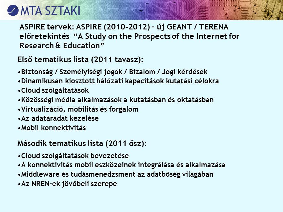 """ASPIRE tervek: ASPIRE (2010-2012) – új GEANT / TERENA előretekintés """"A Study on the Prospects of the Internet for Research & Education"""" Első tematikus"""