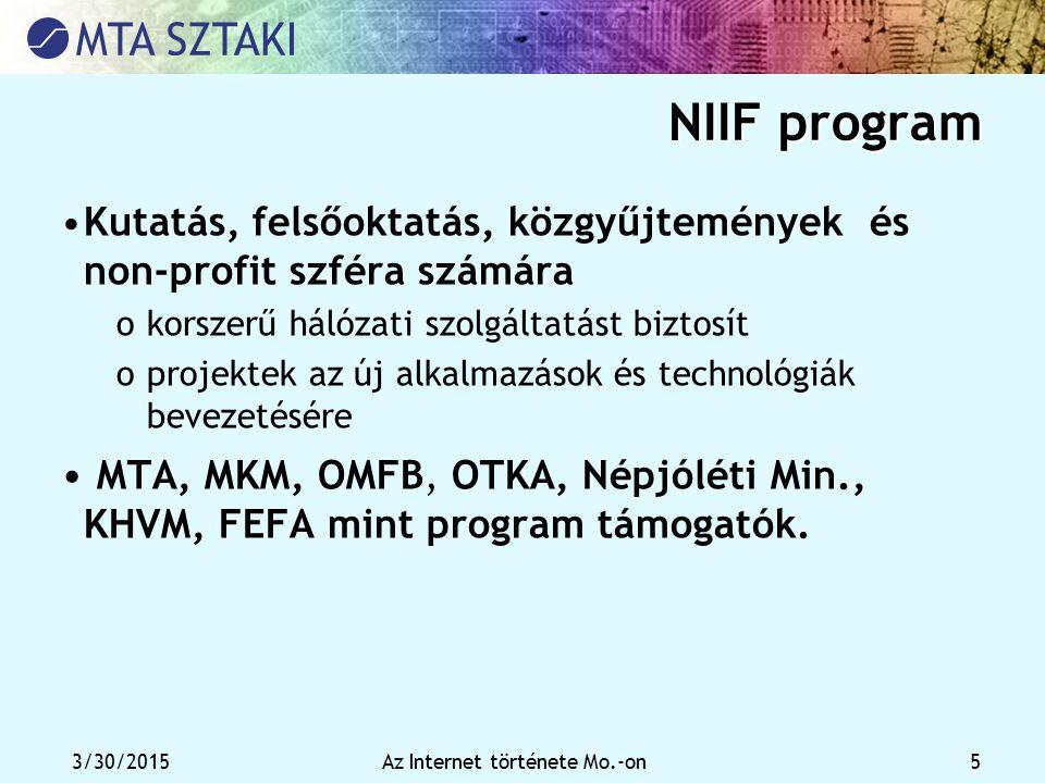 3/30/2015Az Internet története Mo.-on 5 NIIF program Kutatás, felsőoktatás, közgyűjtemények és non-profit szféra számára okorszerű hálózati szolgáltat