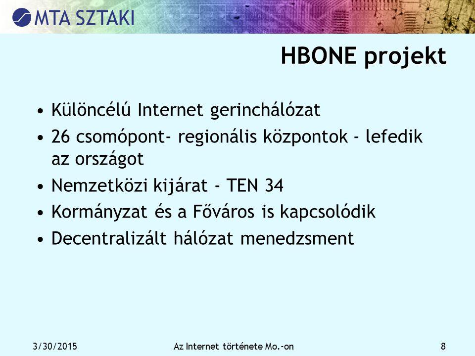 3/30/2015Az Internet története Mo.-on 8 HBONE projekt Különcélú Internet gerinchálózat 26 csomópont- regionális központok - lefedik az országot Nemzet