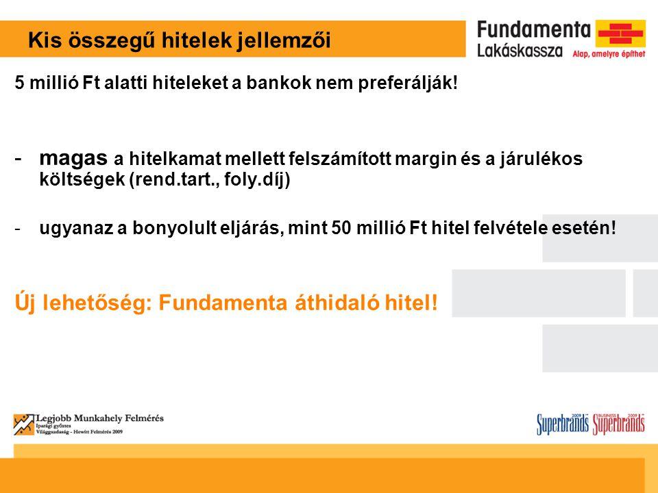 Kis összegű hitelek jellemzői 5 millió Ft alatti hiteleket a bankok nem preferálják.