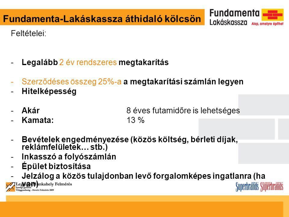 Fundamenta-Lakáskassza áthidaló kölcsön Feltételei: -Legalább 2 év rendszeres megtakarítás -Szerződéses összeg 25%-a a megtakarítási számlán legyen -H