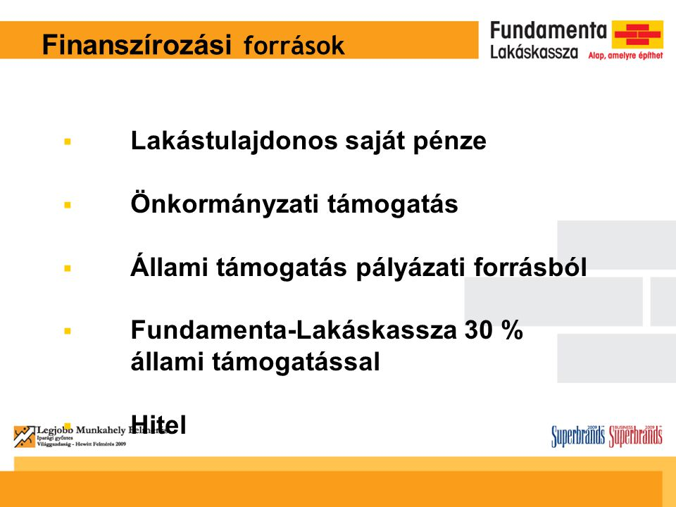 Finanszírozási források  Lakástulajdonos saját pénze  Önkormányzati támogatás  Állami támogatás pályázati forrásból  Fundamenta-Lakáskassza 30 % állami támogatással  Hitel