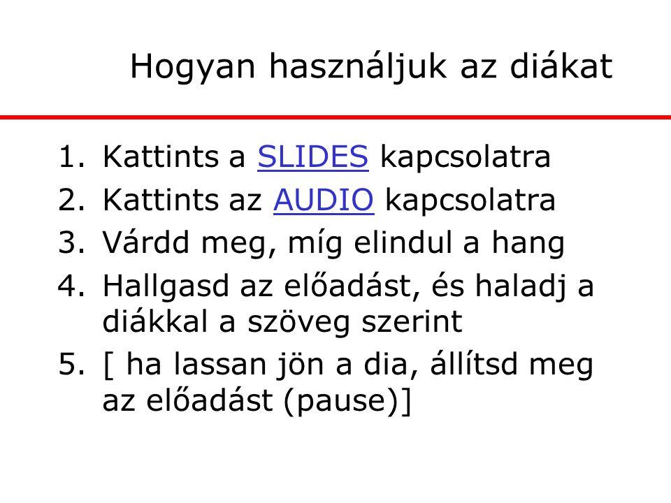 Hogyan használjuk az diákat 1.Kattints a SLIDES kapcsolatra 2.Kattints az AUDIO kapcsolatra 3.Várdd meg, míg elindul a hang 4.Hallgasd az előadást, és