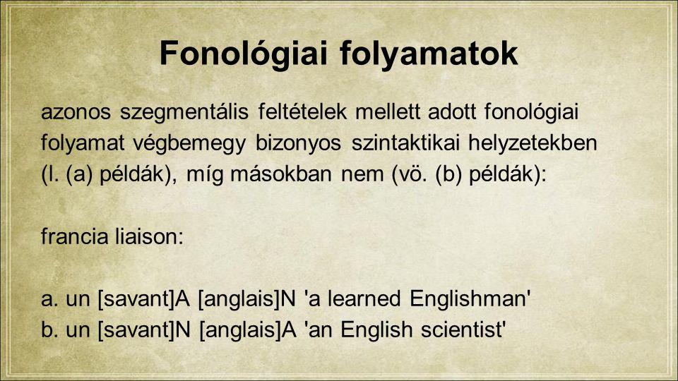 Fonológiai folyamatok azonos szegmentális feltételek mellett adott fonológiai folyamat végbemegy bizonyos szintaktikai helyzetekben (l.