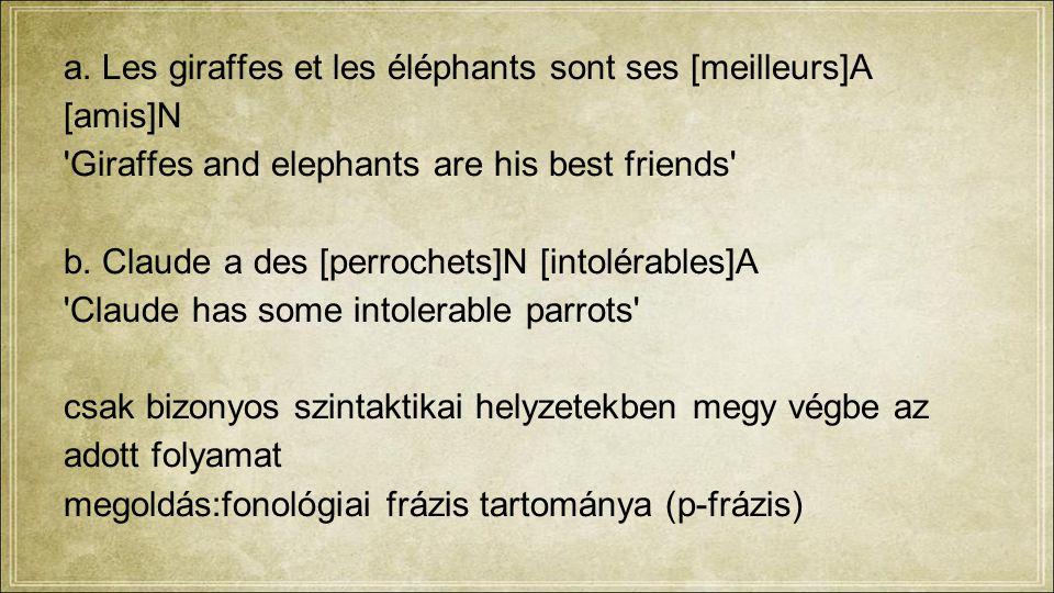 a. Les giraffes et les éléphants sont ses [meilleurs]A [amis]N 'Giraffes and elephants are his best friends' b. Claude a des [perrochets]N [intolérabl