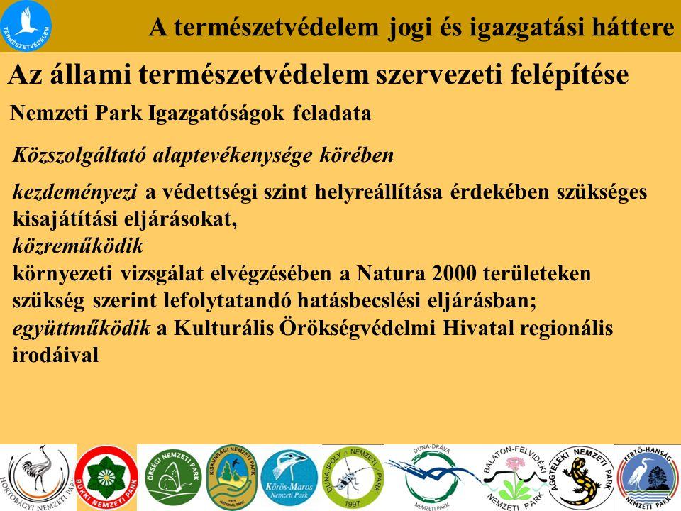 A természetvédelem jogi és igazgatási háttere Az állami természetvédelem szervezeti felépítése Nemzeti Park Igazgatóságok feladata Közszolgáltató alaptevékenysége körében kezdeményezi a védettségi szint helyreállítása érdekében szükséges kisajátítási eljárásokat, közreműködik környezeti vizsgálat elvégzésében a Natura 2000 területeken szükség szerint lefolytatandó hatásbecslési eljárásban; együttműködik a Kulturális Örökségvédelmi Hivatal regionális irodáival