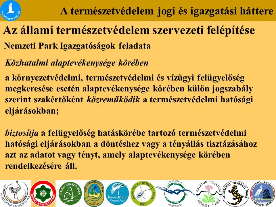 A természetvédelem jogi és igazgatási háttere Az állami természetvédelem szervezeti felépítése Nemzeti Park Igazgatóságok feladata Közhatalmi alaptevékenysége körében a környezetvédelmi, természetvédelmi és vízügyi felügyelőség megkeresése esetén alaptevékenysége körében külön jogszabály szerint szakértőként közreműködik a természetvédelmi hatósági eljárásokban; biztosítja a felügyelőség hatáskörébe tartozó természetvédelmi hatósági eljárásokban a döntéshez vagy a tényállás tisztázásához azt az adatot vagy tényt, amely alaptevékenysége körében rendelkezésére áll.