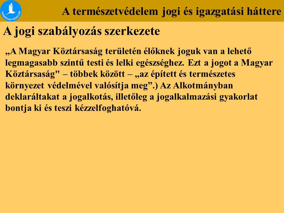 """A természetvédelem jogi és igazgatási háttere A jogi szabályozás szerkezete """"A Magyar Köztársaság területén élőknek joguk van a lehető legmagasabb szi"""