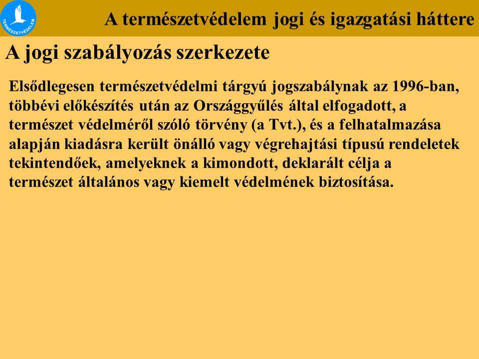 A természetvédelem jogi és igazgatási háttere A jogi szabályozás szerkezete Elsődlegesen természetvédelmi tárgyú jogszabálynak az 1996-ban, többévi el