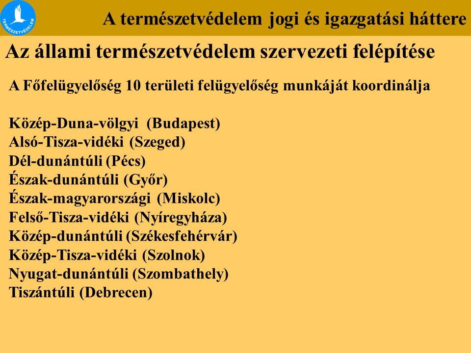 A természetvédelem jogi és igazgatási háttere Az állami természetvédelem szervezeti felépítése A Főfelügyelőség 10 területi felügyelőség munkáját koordinálja Közép-Duna-völgyi (Budapest) Alsó-Tisza-vidéki (Szeged) Dél-dunántúli (Pécs) Észak-dunántúli (Győr) Észak-magyarországi (Miskolc) Felső-Tisza-vidéki (Nyíregyháza) Közép-dunántúli (Székesfehérvár) Közép-Tisza-vidéki (Szolnok) Nyugat-dunántúli (Szombathely) Tiszántúli (Debrecen)