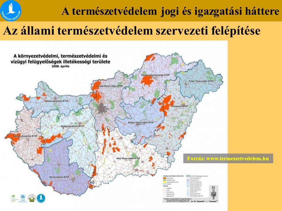 A természetvédelem jogi és igazgatási háttere Az állami természetvédelem szervezeti felépítése Forrás: www.termeszetvedelem.hu